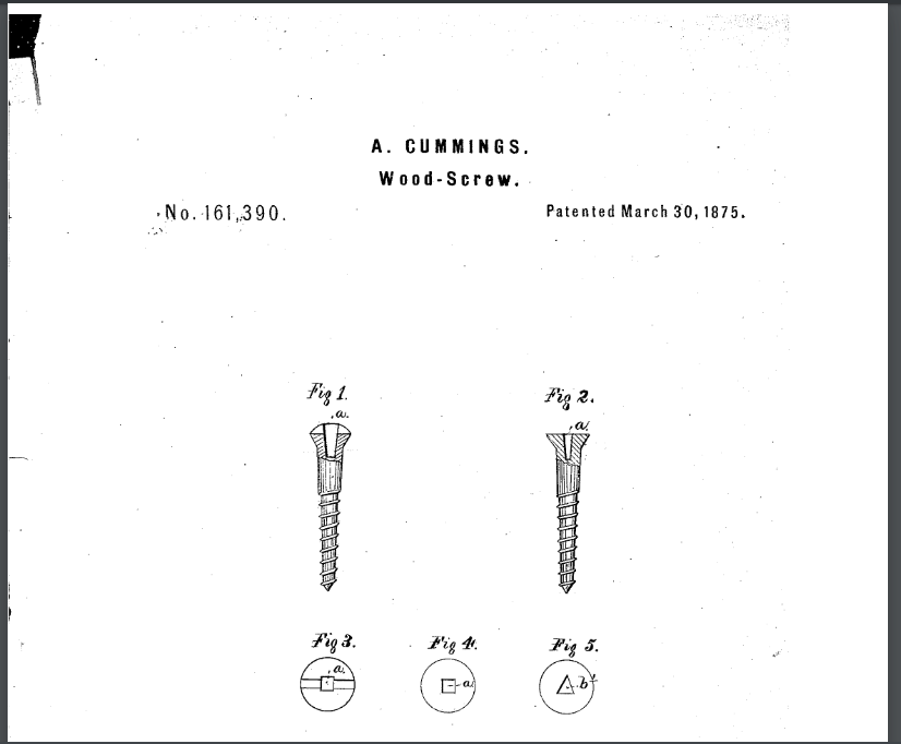 Patent of Cummings Screw