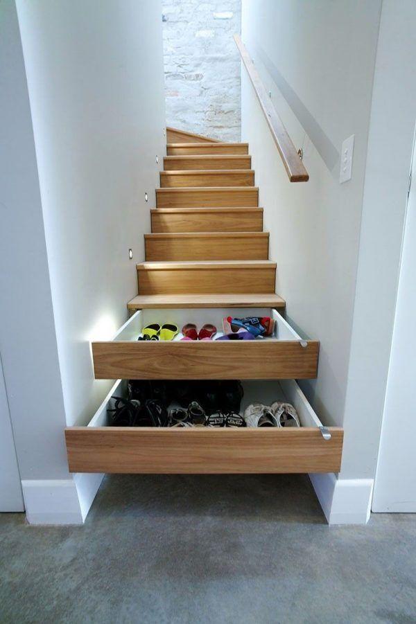 Hidden storage in stairs.